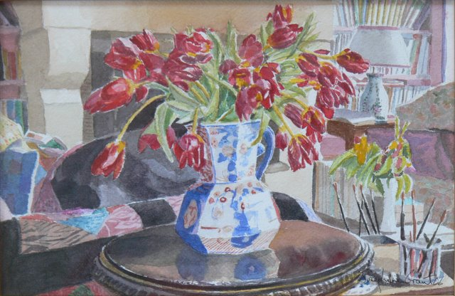 Tulips and Patchwork in the Salon