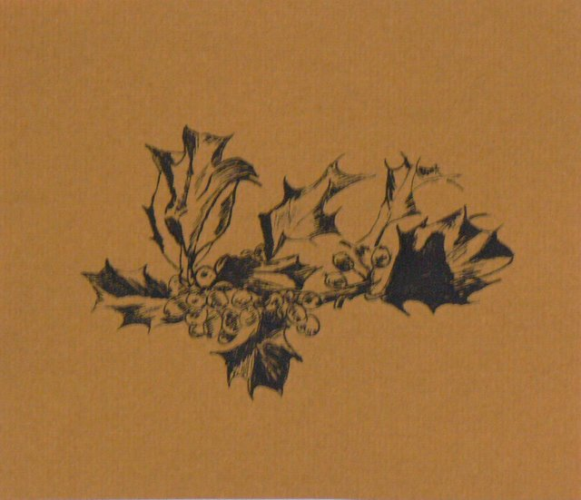 Holly (unframed,on gold paper) - SOLD