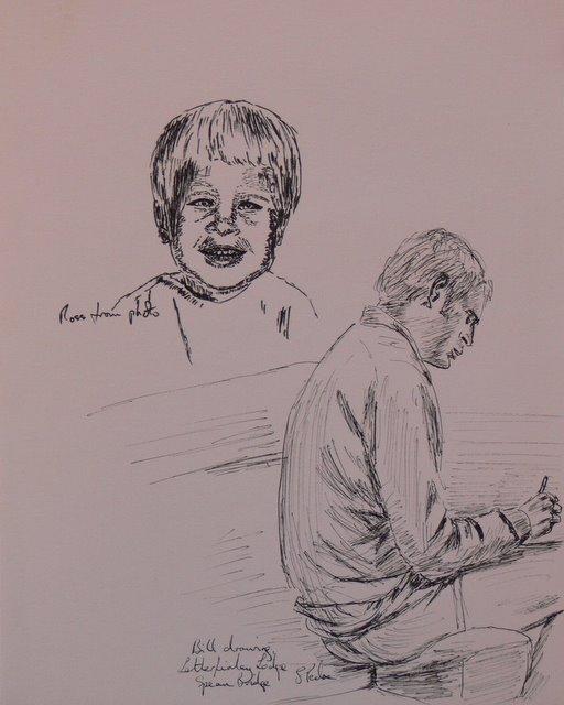 Bill Sketching; and Ross (unframed)