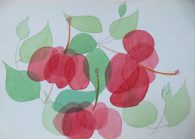 Stylised Red Flowers - SOLD